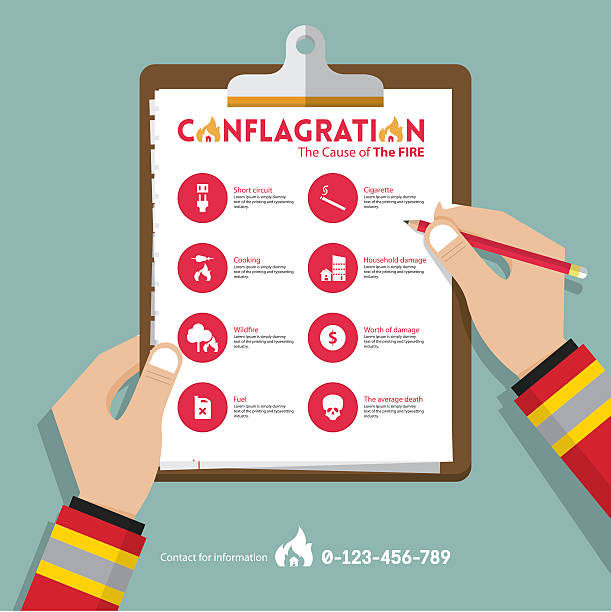 stockillustraties, clipart, cartoons en iconen met conflagration infographics in flat design. real estate insurance icons. vector. - bosbrand