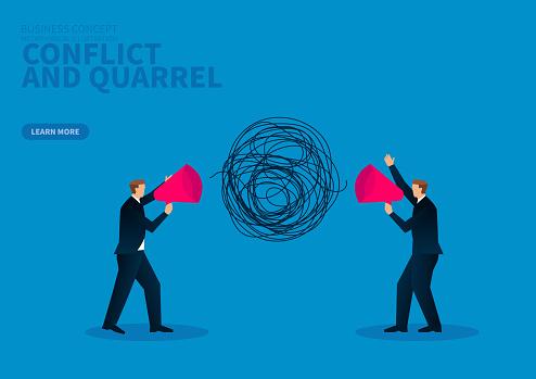Conflict and quarrel, two businessmen holding megaphones to quarrel