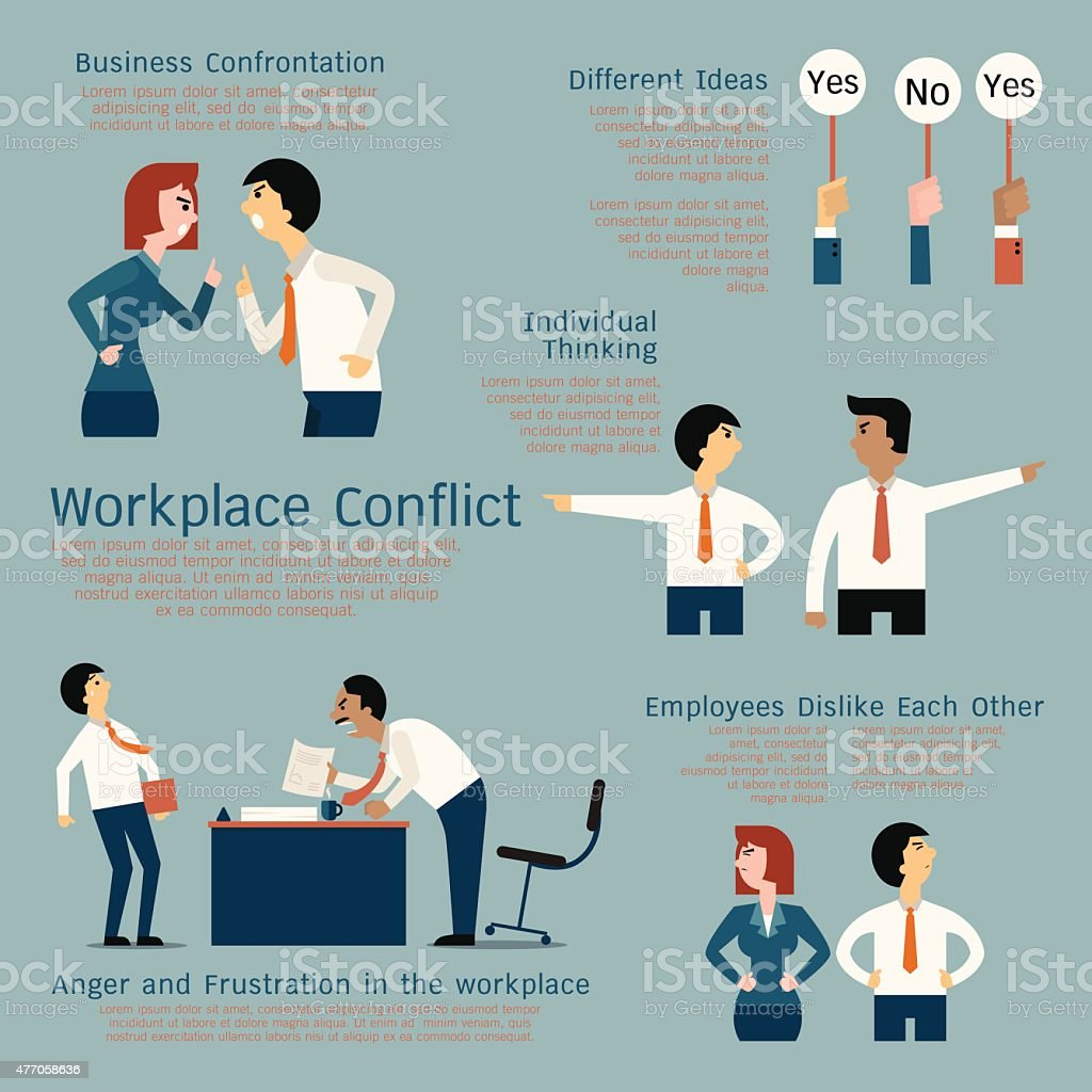 Conflict at workplace vector art illustration