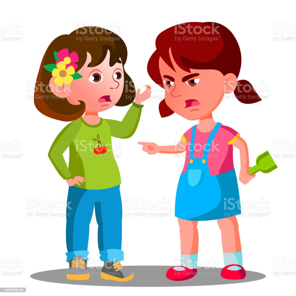 Conflict Between Kids Girls Children Are Fighting Vector Isolated Illustration Stock Illustration Download Image Now Istock