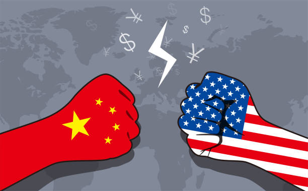 Conflict between US and China, business war Conflict between US and China, business war chinese yuan note stock illustrations