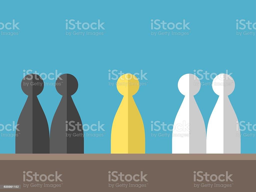 Conflict between various groups vector art illustration