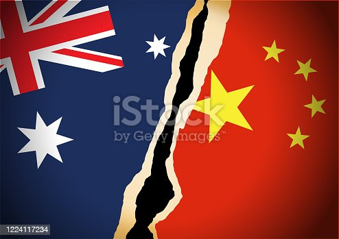 istock Conflict concept of Australia and China flag 1224117234