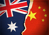istock Conflict concept of Australia and China flag 1225077235