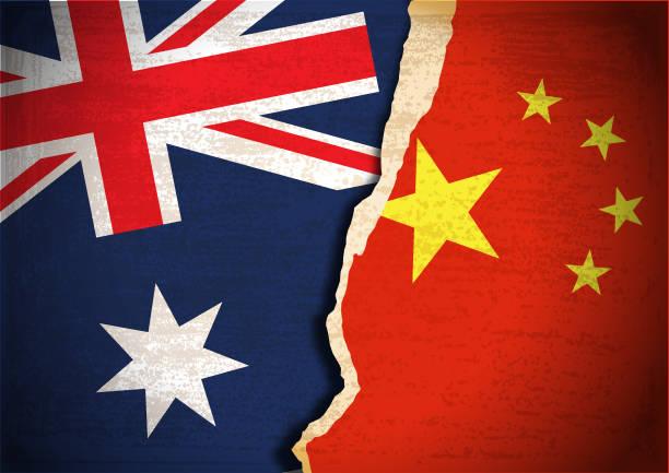 ilustraciones, imágenes clip art, dibujos animados e iconos de stock de concepto de conflicto de la bandera de australia y china - australia