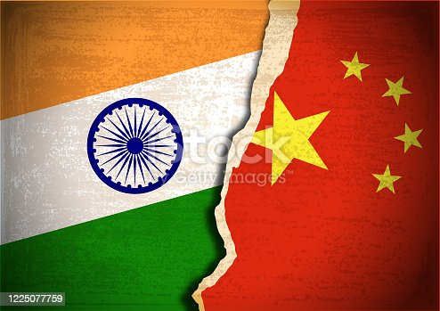 istock Conflict concept of India and China flag 1225077759