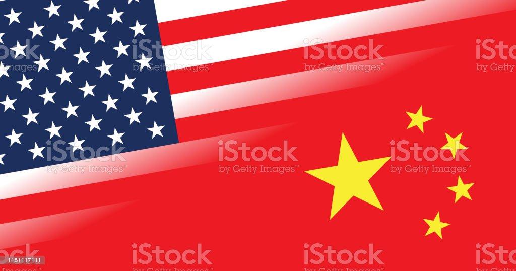アメリカと中国の国旗の対立概念 - 3Dのベクターアート素材や画像を ...