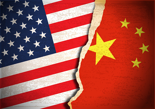Vector of Conflict concept of American and Chinese flag background. Grunge textured apply. EPS Ai 10 file format.