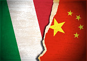 Vector of Conflict concept with Flag of Italy and China on grunge textured background. EPS Ai 10 file format.