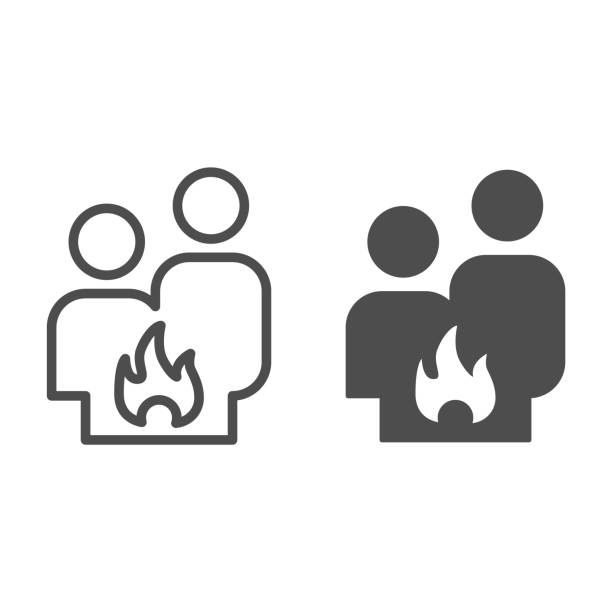 Conflict couple line and solid icon. Quarrel, man and woman conflict and fire symbol, outline style pictogram on white background. Relationship sign for mobile concept and web design. Vector graphics. Conflict couple line and solid icon. Quarrel, man and woman conflict and fire symbol, outline style pictogram on white background. Relationship sign for mobile concept and web design. Vector graphics unhappy couple stock illustrations