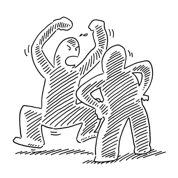Conflict Disputation Human Figures Drawing Hand-drawn vector drawing of a Conflict Disputation Human Figures. Black-and-White sketch on a transparent background (.eps-file). Included files are EPS (v10) and Hi-Res JPG. cartoon character figure stock illustrations