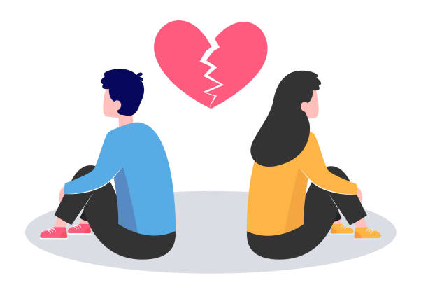 Conflict in couple Conflict in couple. Young man and woman turning their back on under broken heart flat vector illustration. Breakup, heartbreak, split up concept for banner, website design or landing web page unhappy couple stock illustrations