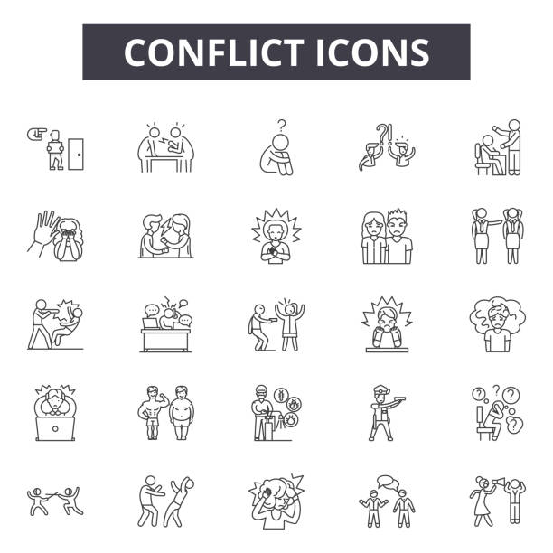 conflict line icons, signs set, vector. conflict outline concept, illustration: conflict,business,people,deflat - anger stock illustrations