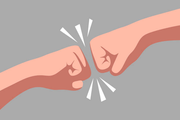 Conflict of interest and opposition of opinions Two fists are opposite each other. Conflict of interest and opposition of opinions aggression stock illustrations