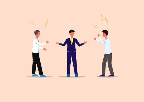 Conflicts and contradictions solution and business mediation banner with cartoon business people, flat vector illustration. Mediator or conciliator on business negotiation.