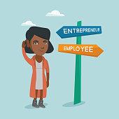 Young woman standing near the road sign with two career pathways - entrepreneur and employee and choosing career way. Woman making a decision of her career. Vector cartoon illustration. Square layout.