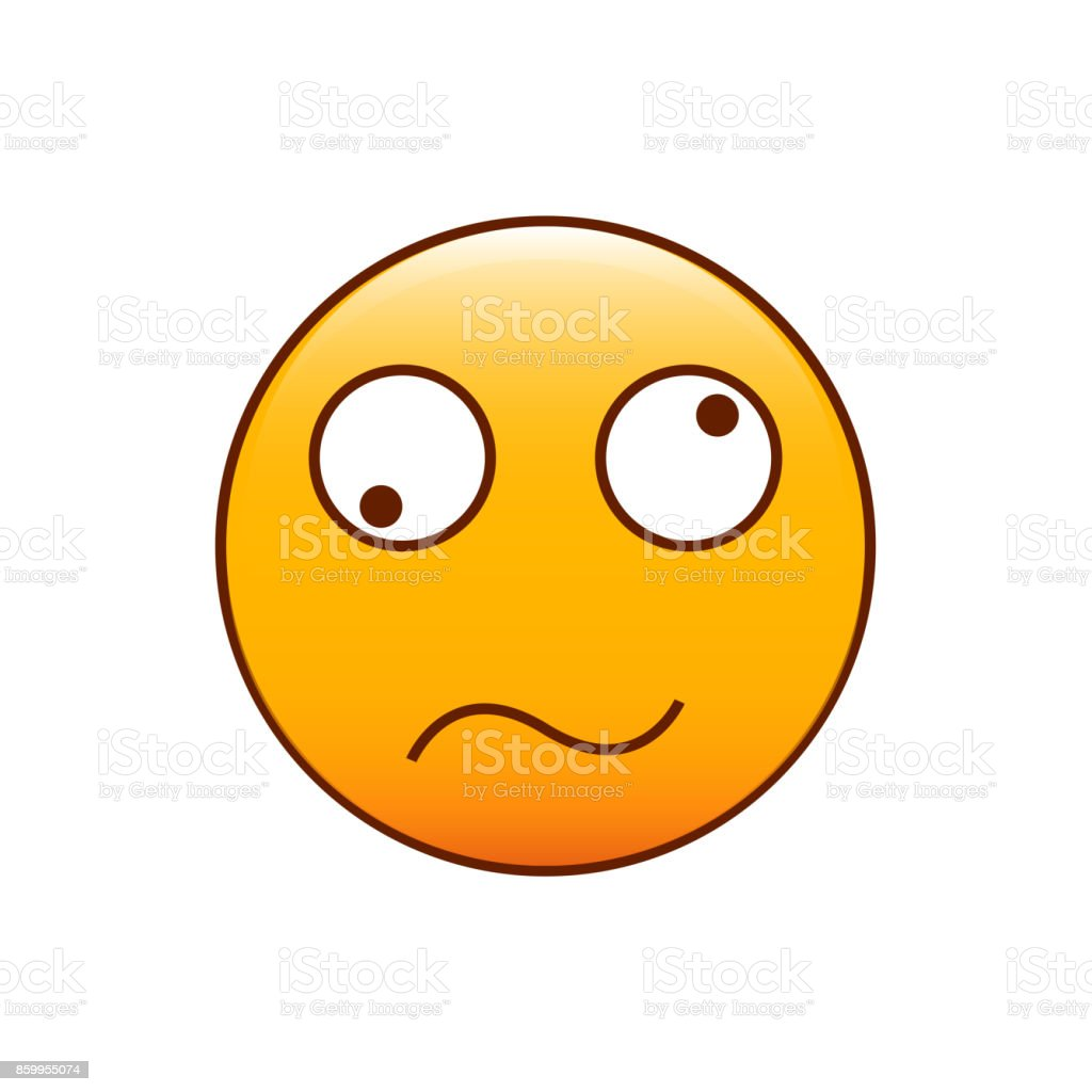 Confused and disoriented emoticon. Vector illustration vector art illustration