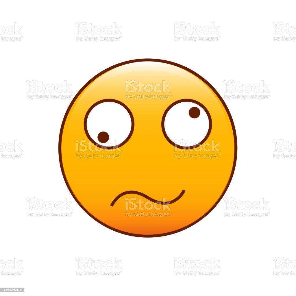 Emoticon confuso e desorientado. Ilustração vetorial - ilustração de arte em vetor