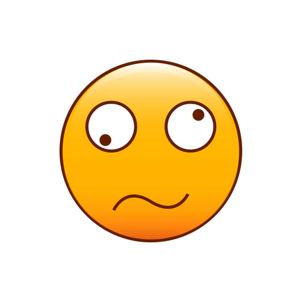 confused and disoriented emoticon. vector illustration - confused emoji stock illustrations, clip art, cartoons, & icons