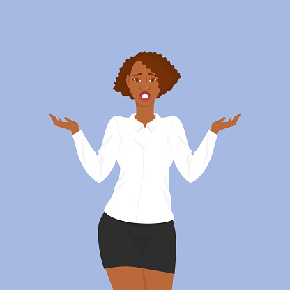 Confused black girl in office clothes