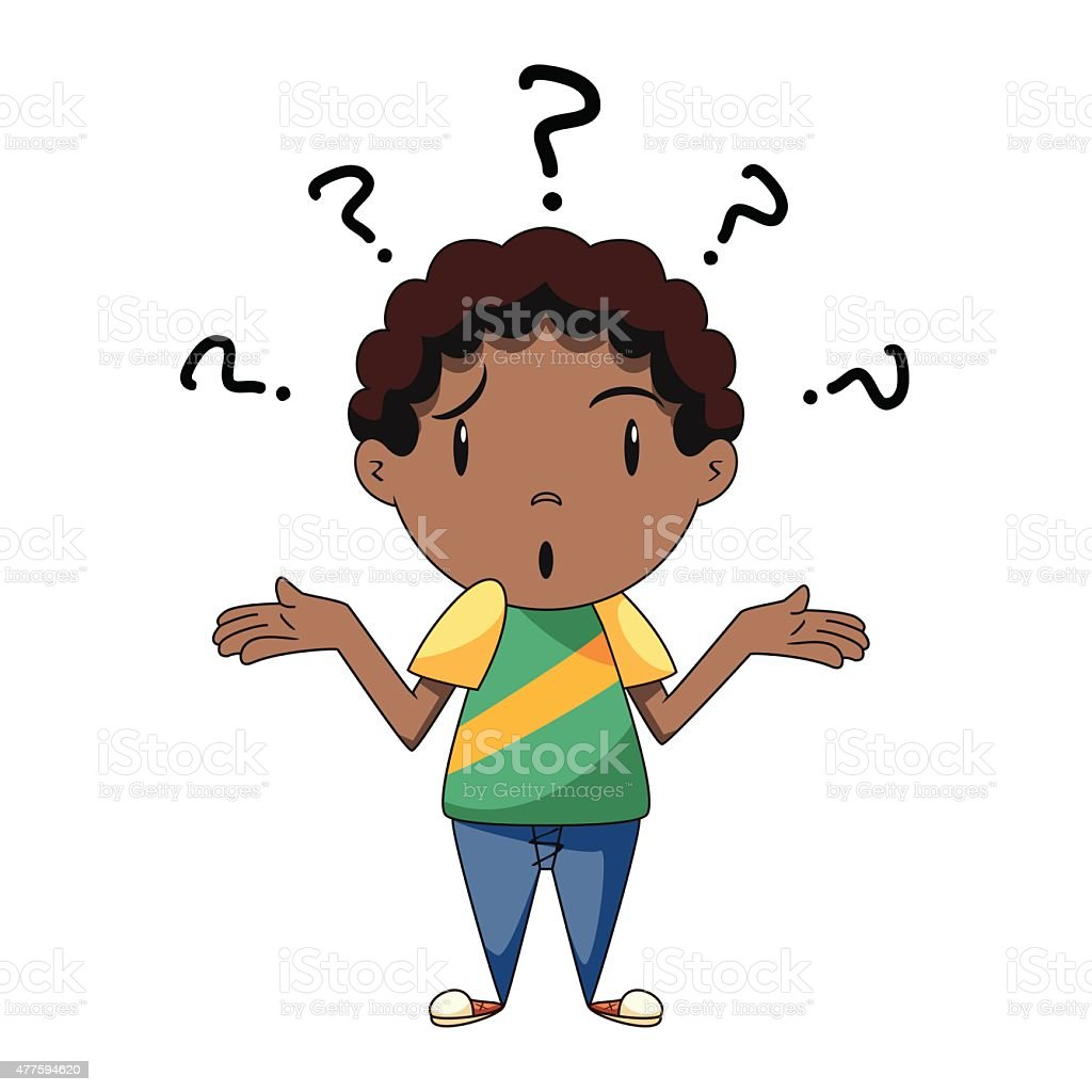 confused boy shrugging shoulders stock vector art amp more
