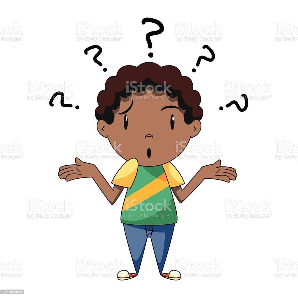 Confused boy, shrugging shoulders vector art illustration