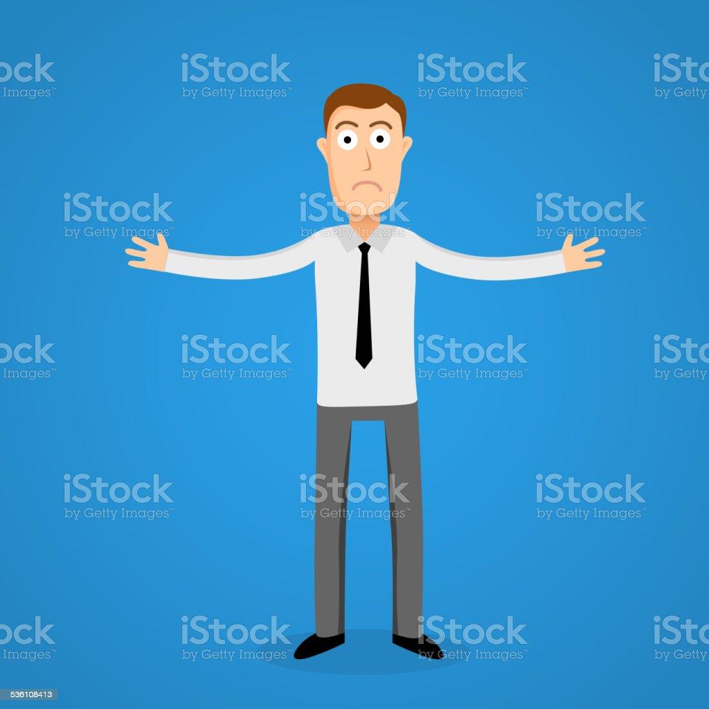 Confused business man. Cartoon person. vector art illustration