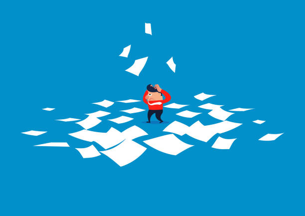 Confused businessman, businessman drowning in countless files Confused businessman, businessman drowning in countless files punishment stock illustrations