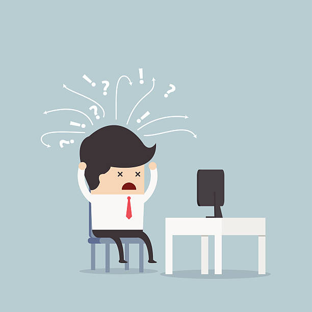 Confused businessman in front of computer Confused businessman in front of computer, VECTOR, EPS10 frustration stock illustrations