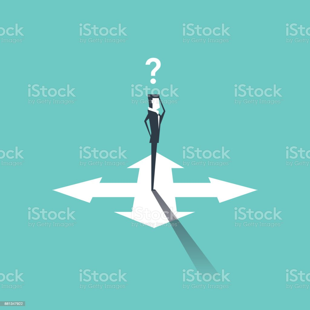 Confused businessman standing on crossroads and choosing way. vector vector art illustration