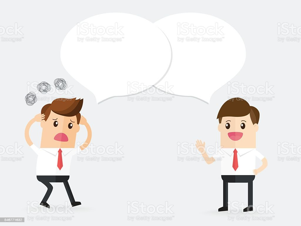 confused businessman talking and discussion with partnership or customer vector art illustration