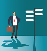 Confused businessman thinking and making choice at road sign. Business opportunity and future solution vector concept. Illustration of businessman direction road choose and decision