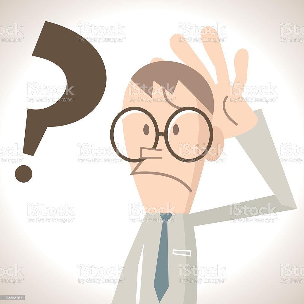 Confused businessman with gesture on his head, question mark vector art illustration