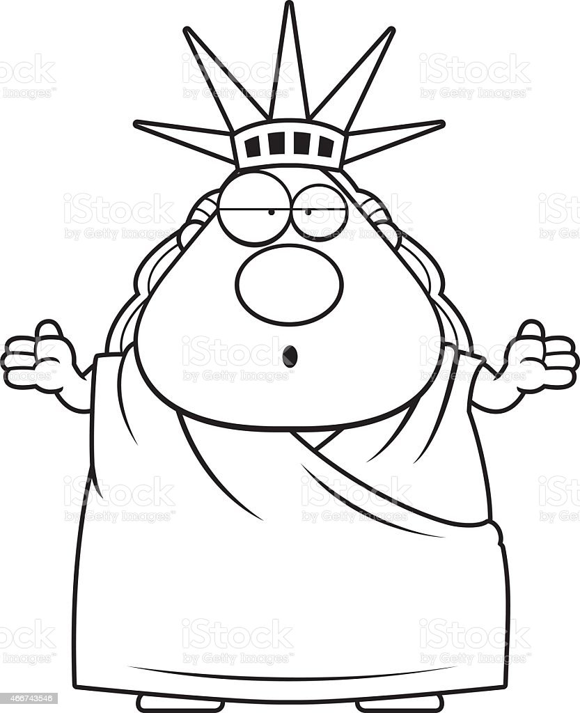 confused cartoon statue of liberty royalty free stock vector art
