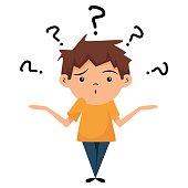 Confused child, shrugging shoulders
