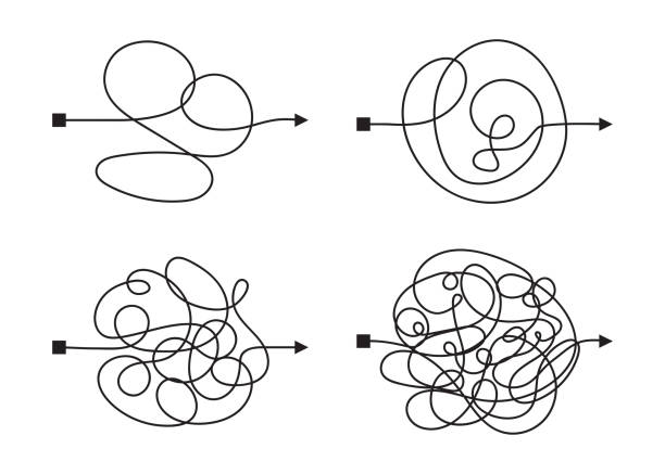 illustrazioni stock, clip art, cartoni animati e icone di tendenza di confused complicated way as chaos or problem concept illustration - facilità