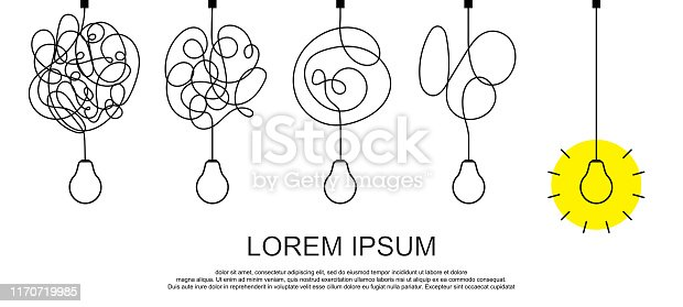 Simplifying the complex, confusion clarity or path vector idea concept with lightbulbs. Simplification streamlining process, straight and curve vector illustration