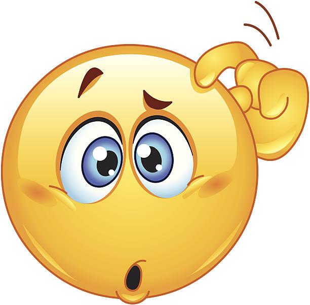 ilustraciones, imágenes clip art, dibujos animados e iconos de stock de confundida emoticono - emoji confundido