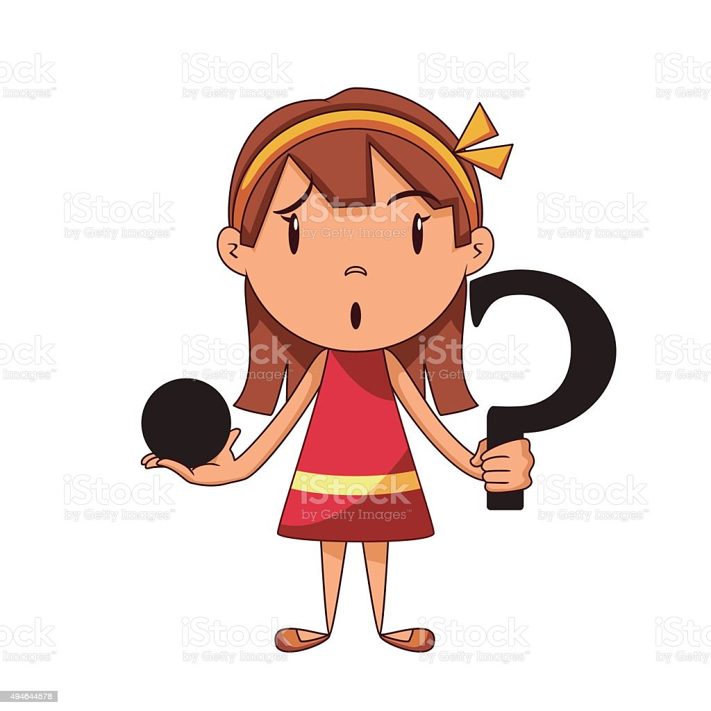 confused girl riddle stock vector art amp more images of