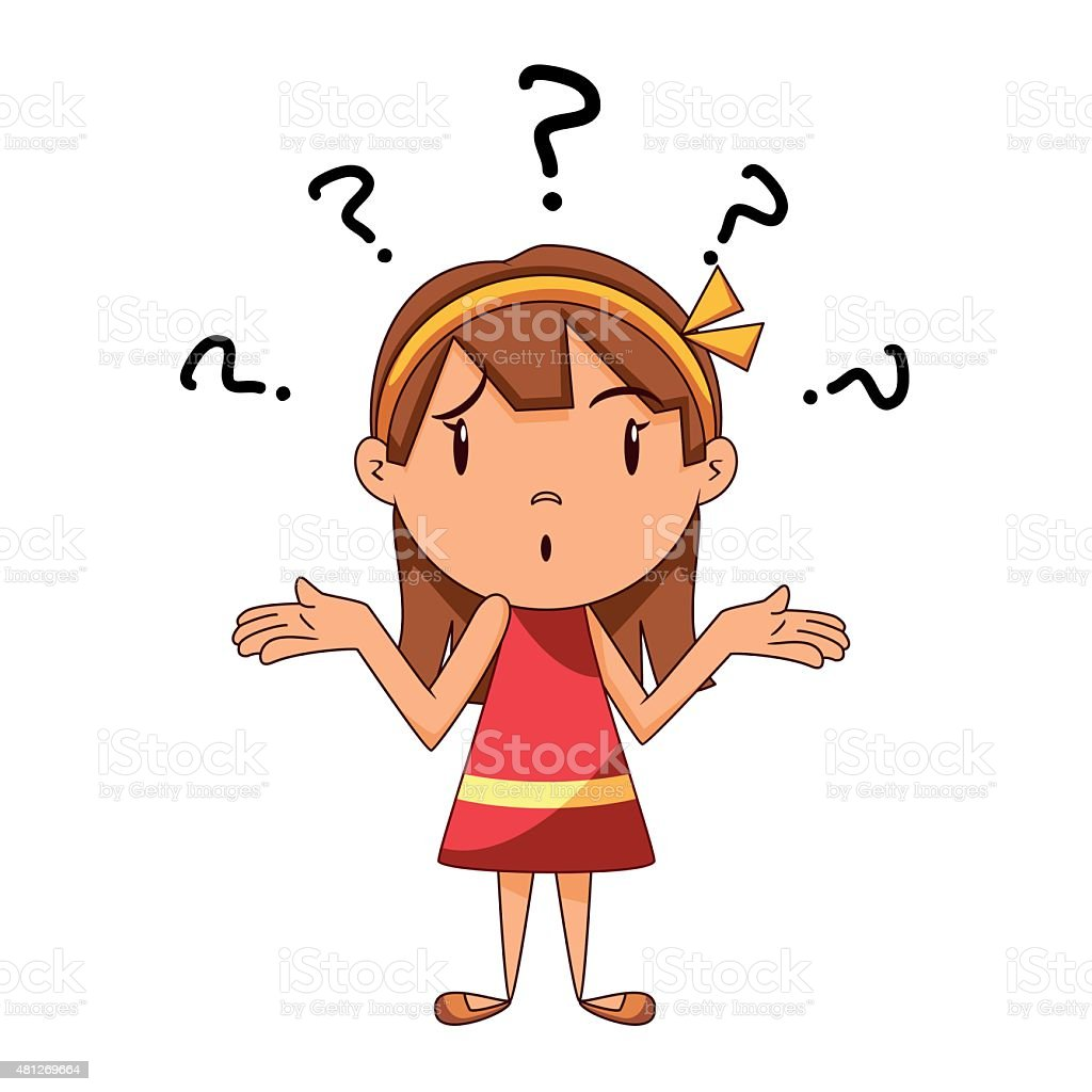 Confused girl, shrugging shoulders vector art illustration