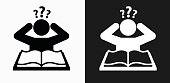 Confused Learning Icon on Black and White Vector Backgrounds