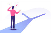 istock Confused man standing at crossroads. Difficult choice between two options. Decide dilemma. Solve problem. Alternatives or opportunities. Making decision concept. Choose pathway. Vector illustration 1223978433