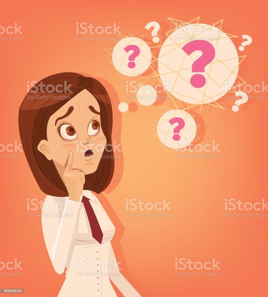Confused office worker woman thinking and solving the problem vector art illustration