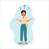 Confused woman, emotional face and pose, questions around isolated on white background stock vector illustration. Fashion look, pretty and attractive.