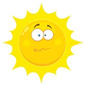 Confused Yellow Sun Cartoon Emoji Face Character With Nervous Expression