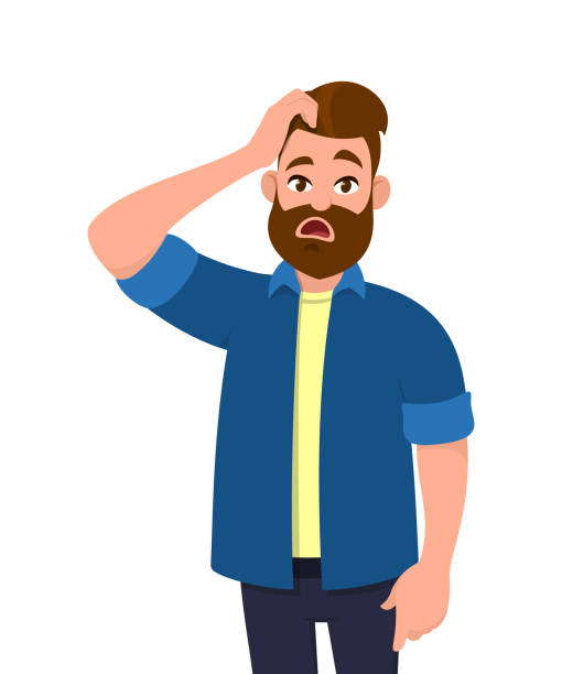 Confused young man scratching his head. Emotions and body language concept. Vector illustration in cartoon style. Confused young man scratching his head. Emotions and body language concept. Vector illustration in cartoon style. confused face stock illustrations