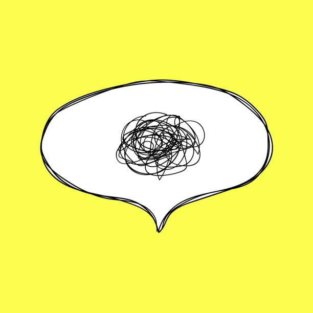 verwirrung. sprechblase mit wirren gedanken. handgezeichnete sprechblase im comic-stil. - chaos stock-grafiken, -clipart, -cartoons und -symbole