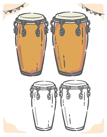 Conga drums isolated on white.