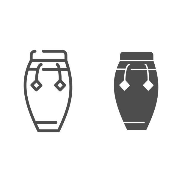 bildbanksillustrationer, clip art samt tecknat material och ikoner med conga tunn linje och glyph ikon. trumma vektor illustration isolerad på vitt. musikaliska slagverksinstrument outline style design, designad för webben och app. eps 10. - wood sign isolated