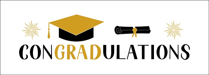 ConGRADutations lettering with graduation hat isolated on white. Congratulations to graduates typography poster.  Easy to edit vector template for greeting card, banner, sticker, label, t-shirt, etc.